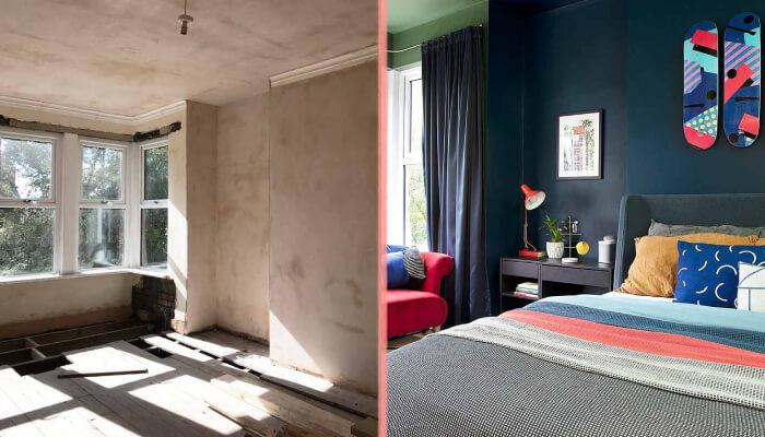До и после разноцветный интерьер английского дома