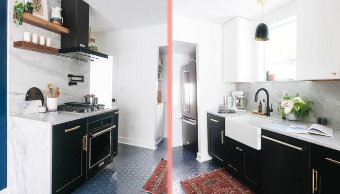 До и после современная светлая кухня дома в Сиэтле