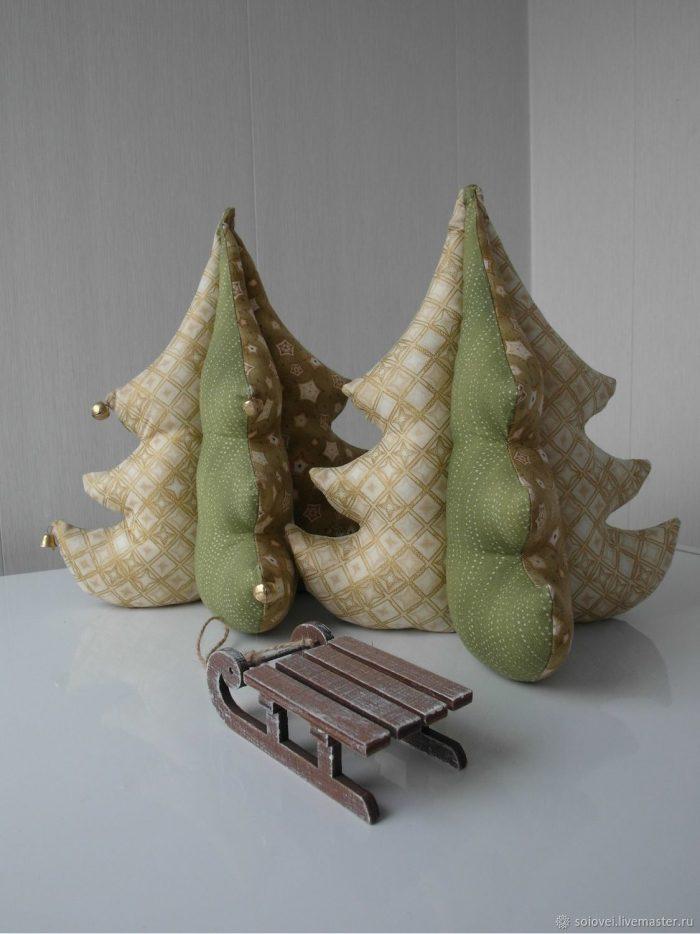 Текстильные ёлочки ручной работы: 54 фото