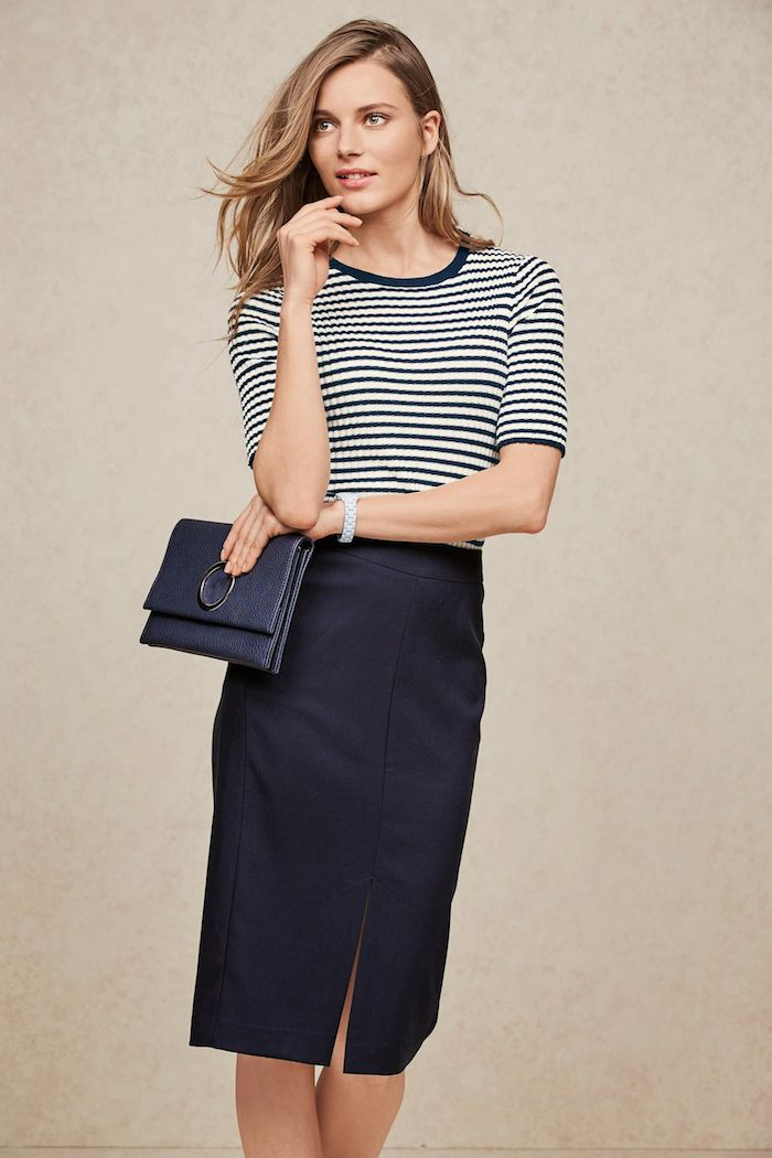 striped-rib-crew-top-and-navy-skirt