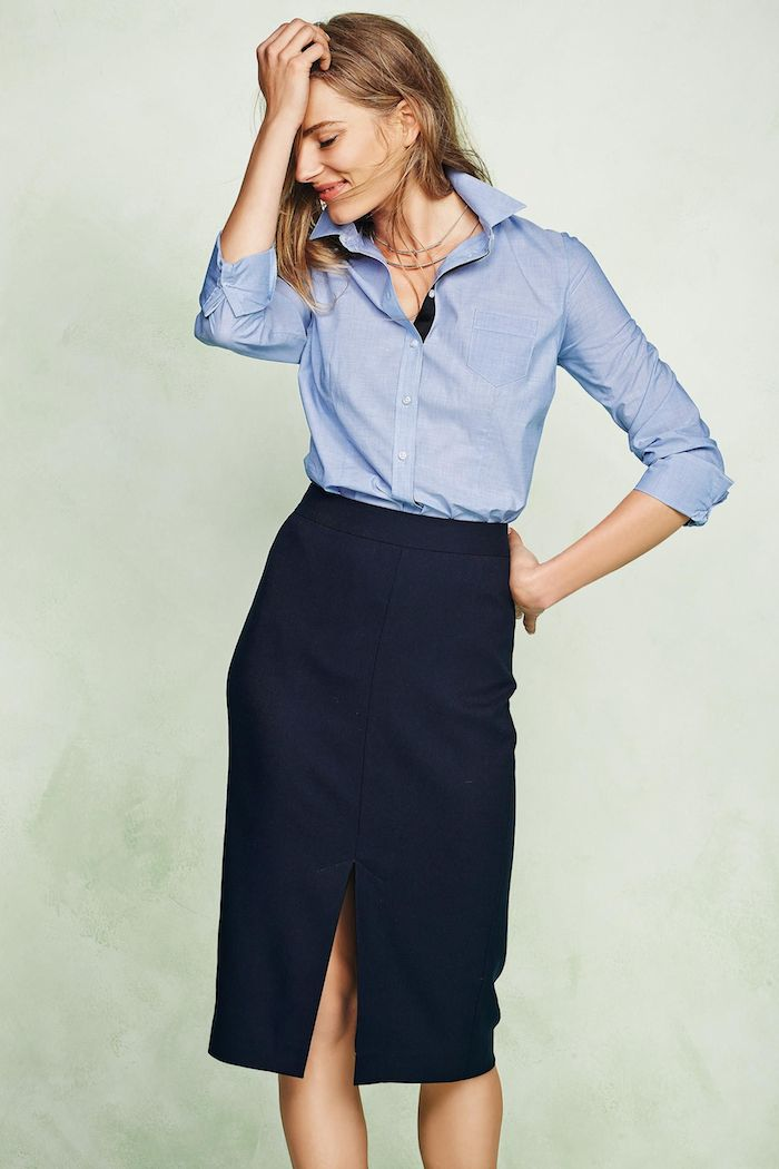 blue-chambray-shirt-navy-skirt