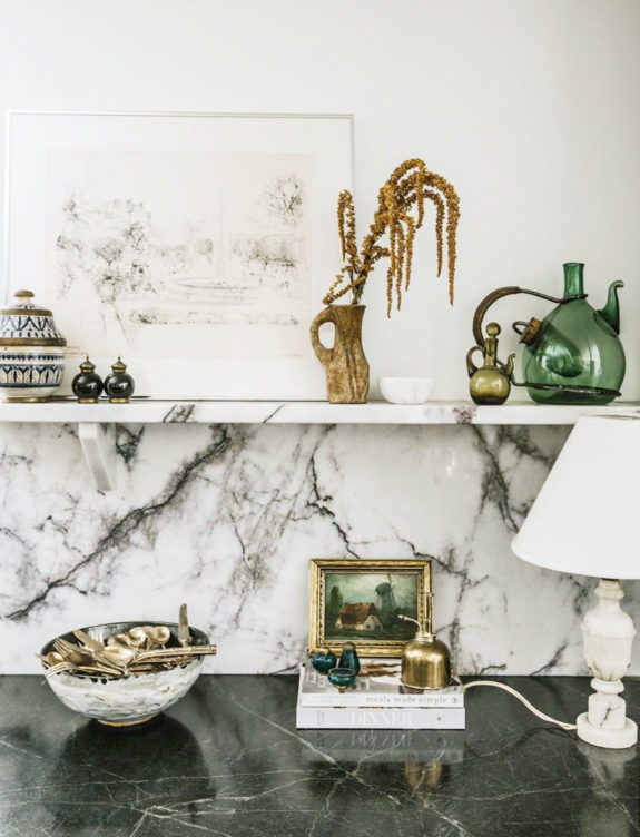 marble shelf and backsplash. / sfgirlbybay