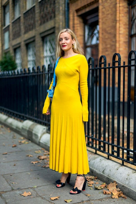 le-fashion-blog-street-style-yellow-maxi-dress-kate-foley-via-harpers-bazaar
