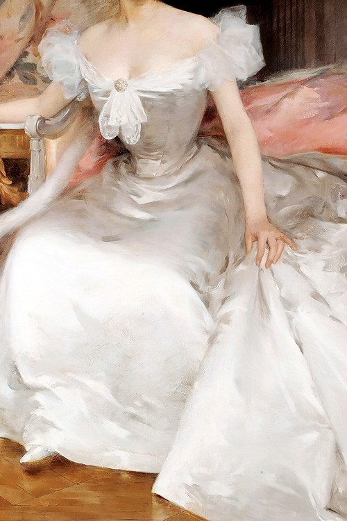 A Young Woman in a White Dress by Joannon-Navier, 1896