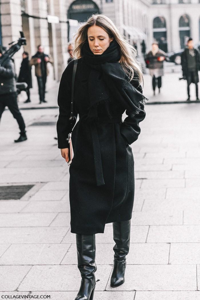 Черное пальто, высокие сапоги, parisian chic, парижский базовый гардероб