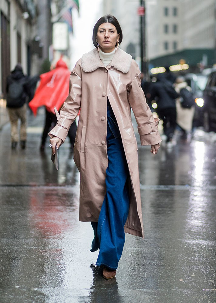 Pink leather coat, new york street style, spring-summer 2017