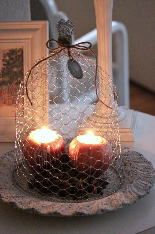 viniette, осенний декор интерьера, композиция, украшение дома, свеча в яблоке