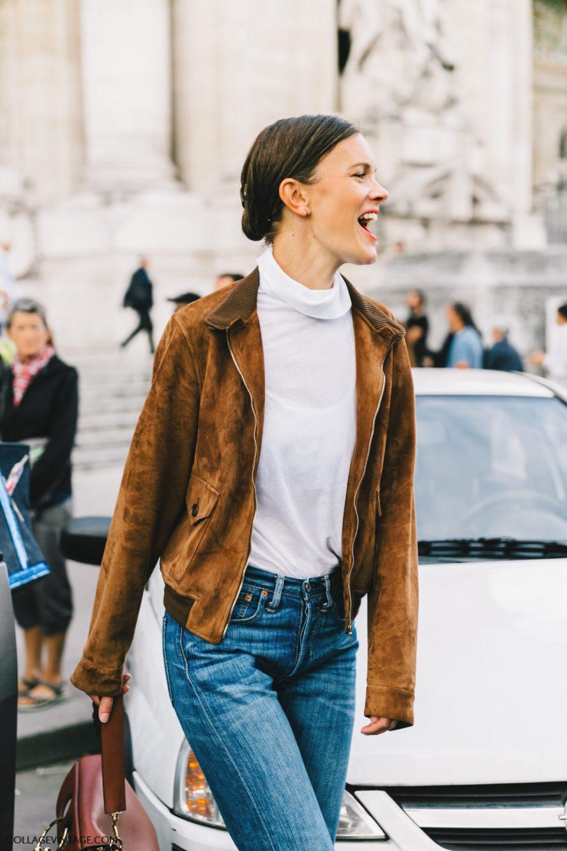 leather jacket, blue jeans, parisian chic