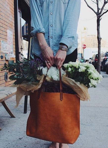 девушка с цветами, leather tote bag