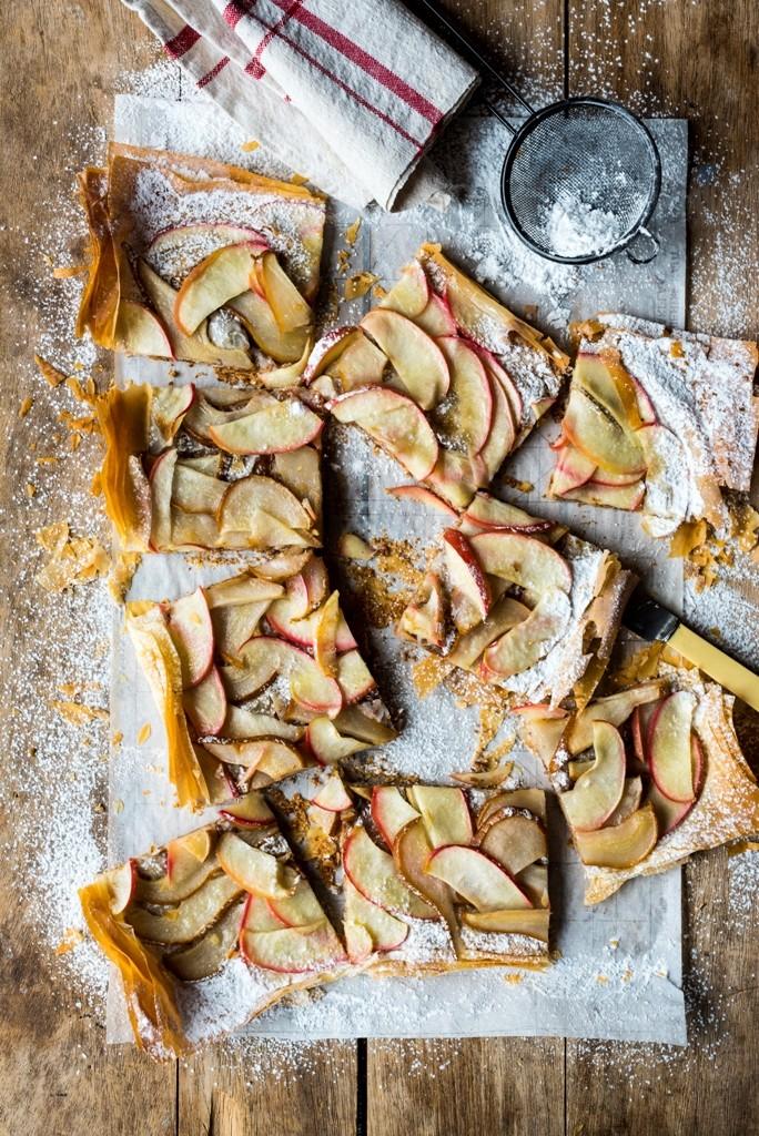 яблочный пирог, легкая выпечка, тесто фило