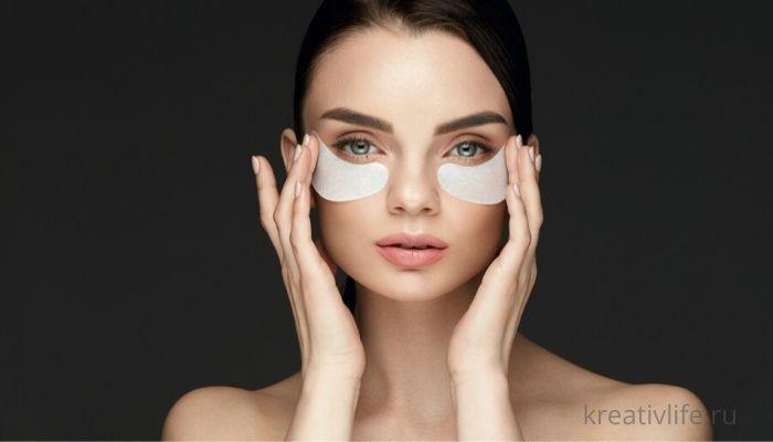 маска под глазами на лице девушки
