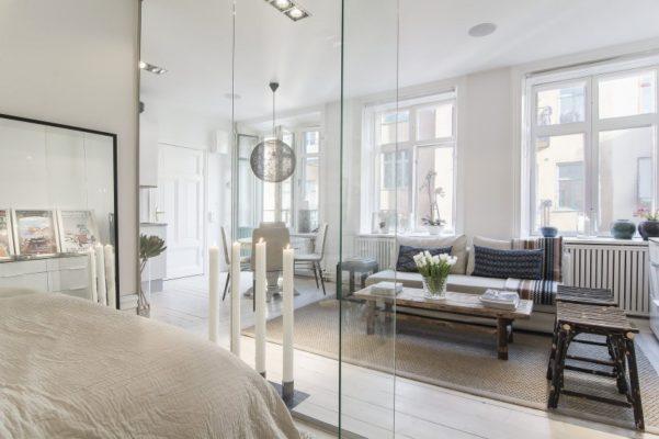 Small-Flat-in-Stockholm-Bedroom-Transparent-Walls1