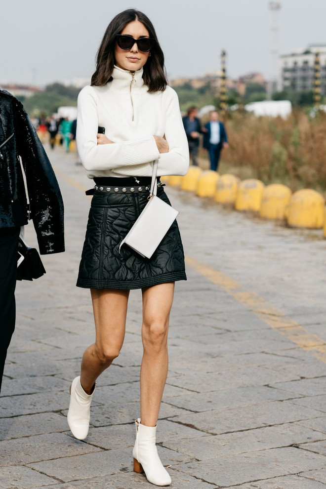 leather skirt outfit, кожаная юбка
